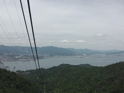 ロープウェイから見た瀬戸内海の景色