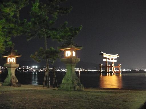 宮島の夜の大鳥居